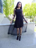 Воздушное фатиновое платье из черного фатина