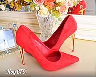 Женские туфли лодочки замшевые красного цвета