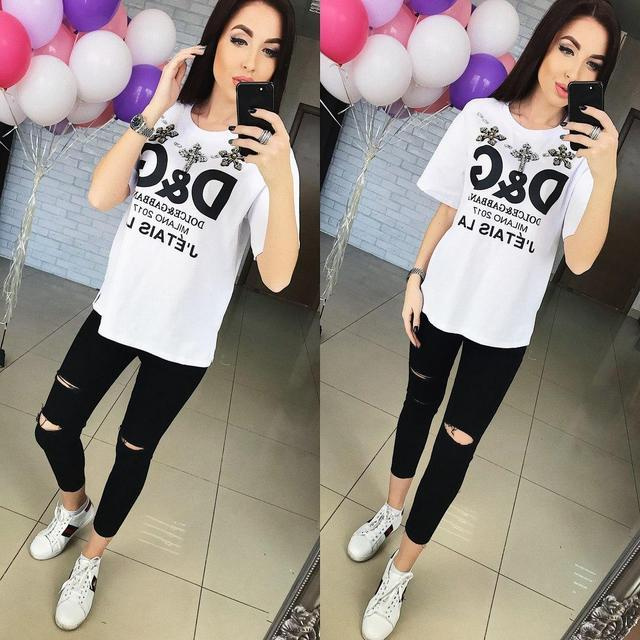 Женская футболка с украшением 880299 - СТИЛЬНАЯ ДЕВУШКА интернет магазин модной женской одежды в Киеве