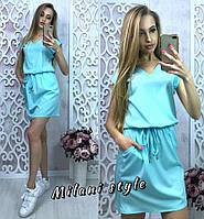 Платье женское летнее под пояс ткань софт цвет ментоловый
