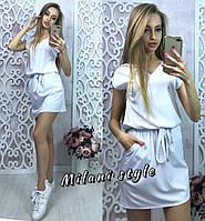 Платье женское летнее под пояс ткань софт цвет белый