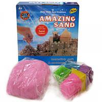 Песок кинетический для моделирования 14-500 (500 гр в коробке + 6 формочек/микс цветов)