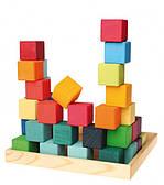 Деревянные кубики, пирамидки
