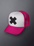 Кепка розовая с белым передом крест, М1189