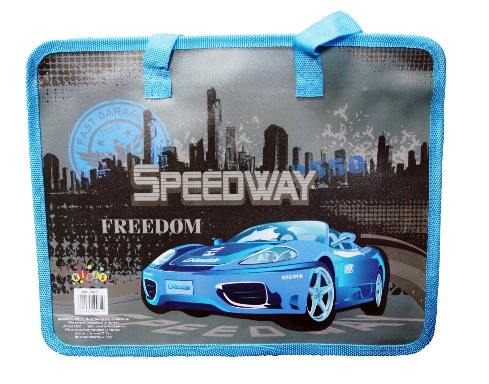 Папка-портфель пластиковая с тканевыми ручками №7417 Элитные машины