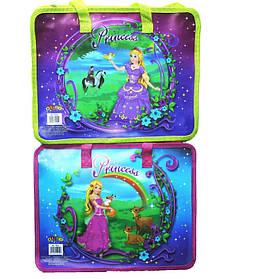 Папка-портфель пластиковая с тканевыми ручками №7415 Принцесса