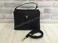 Женская кожаная сумка Prada lux чёрная 801