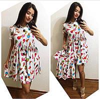 """Летние одинаковые яркие платья для мамы и дочки """"Мороженки"""" В20283"""