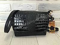 Натуральная кожаная сумка Modena Style чёрная лак 504