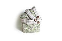 Короб текстильний для хранения Квіти-Олива