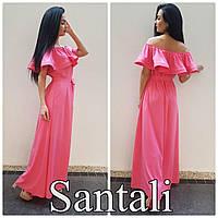 Красивое женское платье в пол с рюшей по плечиках,цвет розовый,электрик