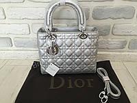 Модная оригинальная  женская сумка Lady Dior silver 368S