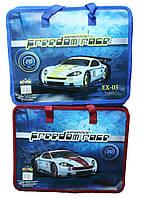 Папка-портфель пластиковая с тканевыми ручками №7421 Гоночные машины