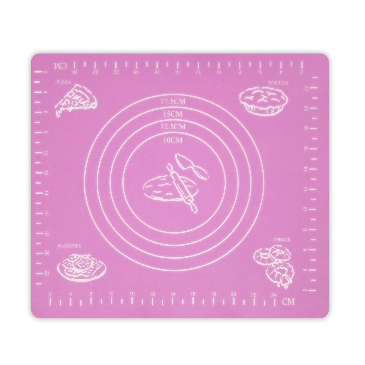 Коврик-подложка для раскатывания теста, 29*26 см (розовый)