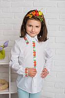 Блуза школьная с вышивкой для девочки