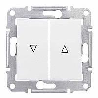 SDN1300321. Выключатель для жалюзи. Механическая блокировка. Белый. Sedna