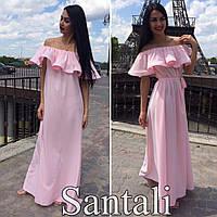 Красивое женское платье в пол с рюшей по плечиках,цвет розовый,персик