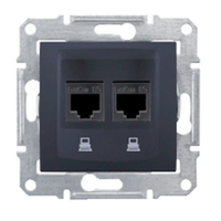 SDN4400170. Двойная компьютерная розетка 2хRJ45 UTP кат.5е SE. Графит. Sedna