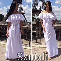 Красивое женское платье в пол с рюшей по плечиках,цвет белый