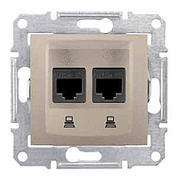SDN4800168. Двойная компьютерная розетка 2хRJ45 UTP кат.6 SE. Титан. Sedna