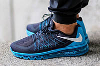 Кроссовки Nike Air Max 2015 Dark Obsidian/Blue Lagoon. Живое фото. Топ качество (Реплика ААА+)