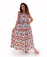 Платье летнее длинное Бабочки голубое ТМ Прованс by Vona