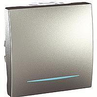 MGU3.203.30N. Переключатель 1-клавишный. Проходной. (СХ.6) С подсветкой. 10А, 2-модульный. Алюминий Unica