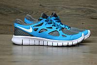 Беговые кроссовки Nike Free Run Plus 2 Blue. Живое фото. (найк фри ран)