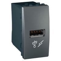 MGU3.428.12. Розетка USB. 5V DC 1A. 1-модульная. Графит. Unica
