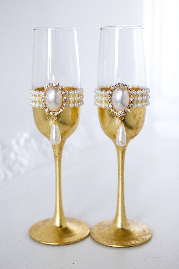 Свадебные бокалы - золото