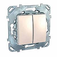 MGU5.211.25ZD. Выключатель кнопочный. 2-клавишный. Слоновая кость Unica