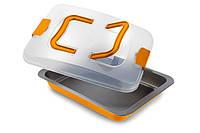 Форма для выпечки прямоугольная с пластиковой крышкой