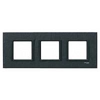 MGU68.006.7Z1. Рамка 3-постовая, Черный камень. Unica Class