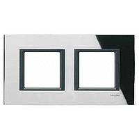 MGU68.004.7C1. Рамка 2-постовая, Черное зеркало. Unica Class