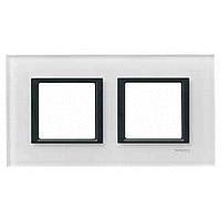 MGU68.004.7C2. Рамка 2-постовая, Белое стекло. Unica Class