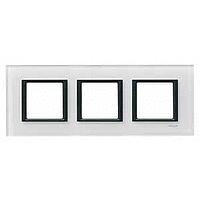MGU68.006.7C2. Рамка 3-постовая, Белое стекло. Unica Class