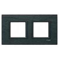 MGU68.004.7Z1. Рамка 2-постовая, Черный камень. Unica Class