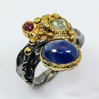 Сапфир, серебро 925, кольцо ручная работа, 458КС