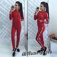 Женский спортивный костюм Chanel Шанель ткань двухнитка красный