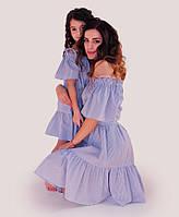 Платье мама и дочка Голубая полоска ТМ Прованс by Vona