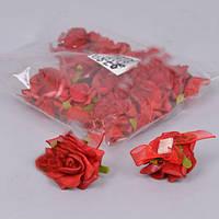 Розочки красные латекс бутоньерка наклейка 3см Цветы искусственные