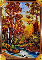Картина украшена янтарем 38х55см. Пейзаж