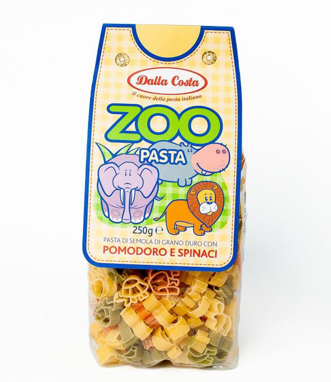 Детские макароны Dalla Costa Zoo c томатом и шпинатом, 300 г.