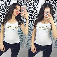 Нарядная женская футболка (турецкая вискоза, короткий рукав, декольте, блестящая надпись) РАЗНЫЕ ЦВЕТА!