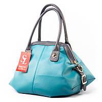 Бирюзовая женская сумка 1369blue саквояж мягкий