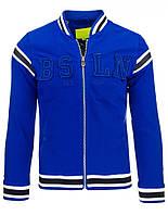 Бейсбольная мужская куртка однотонная низ, воротник, пройма отделаны полосатым довязом синий  L