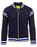 Бейсбольная Мужская куртка с логотипом  и полосатым довязом   на воротнике, рукавах и низу  темно-синий M
