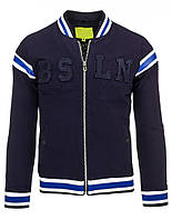 Бейсбольная мужская куртка  с нашитыми буквенными символами и полосатым довязом  темно-синий  XL