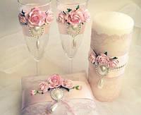 Свадебный набор бокалы и подушечка для колец, свечи, папка для свидетельства
