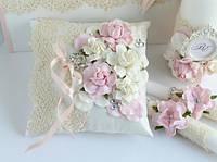 Свадебный набор(подушечка, свечи и повязка)